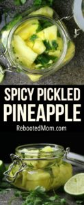 Spicy Pickled Pineapple in a jar