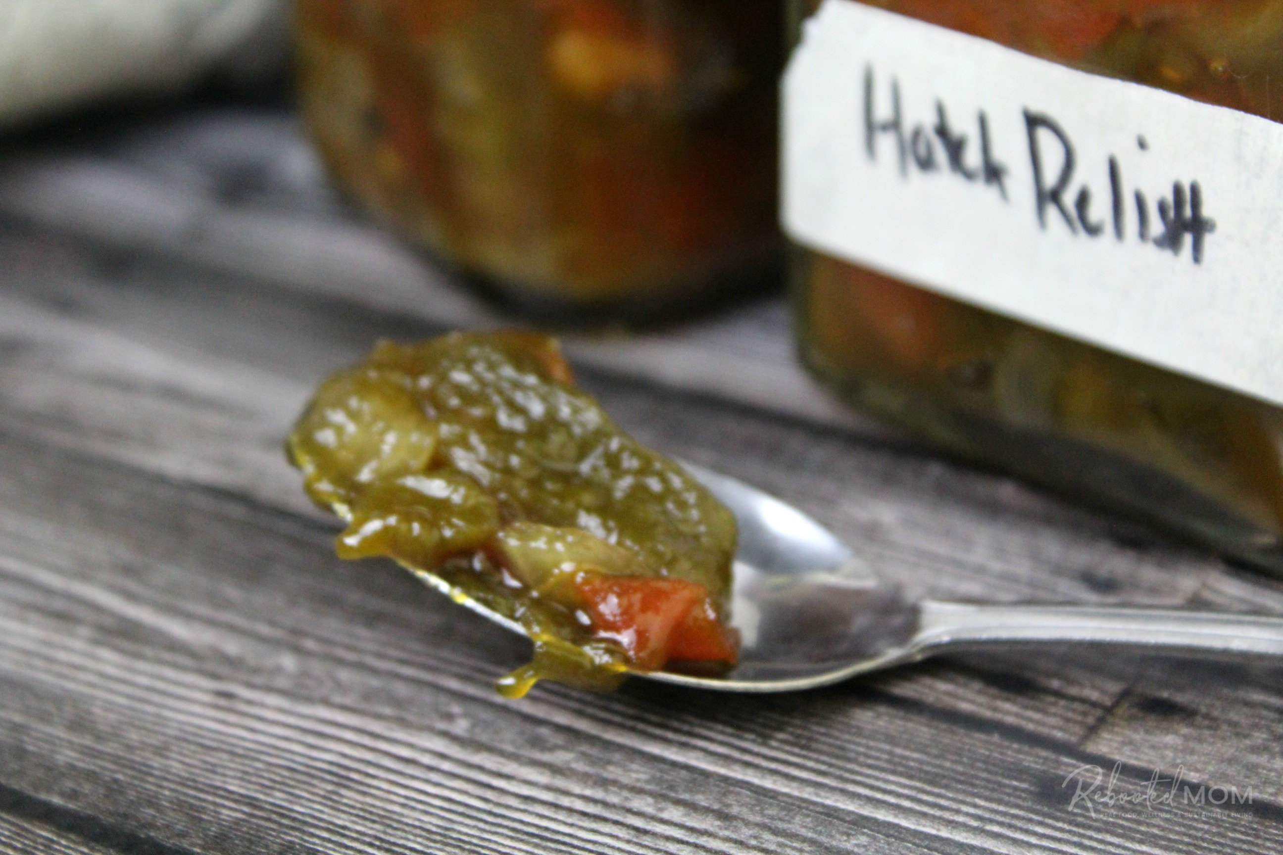 Hatch Chile Relish on a spoon