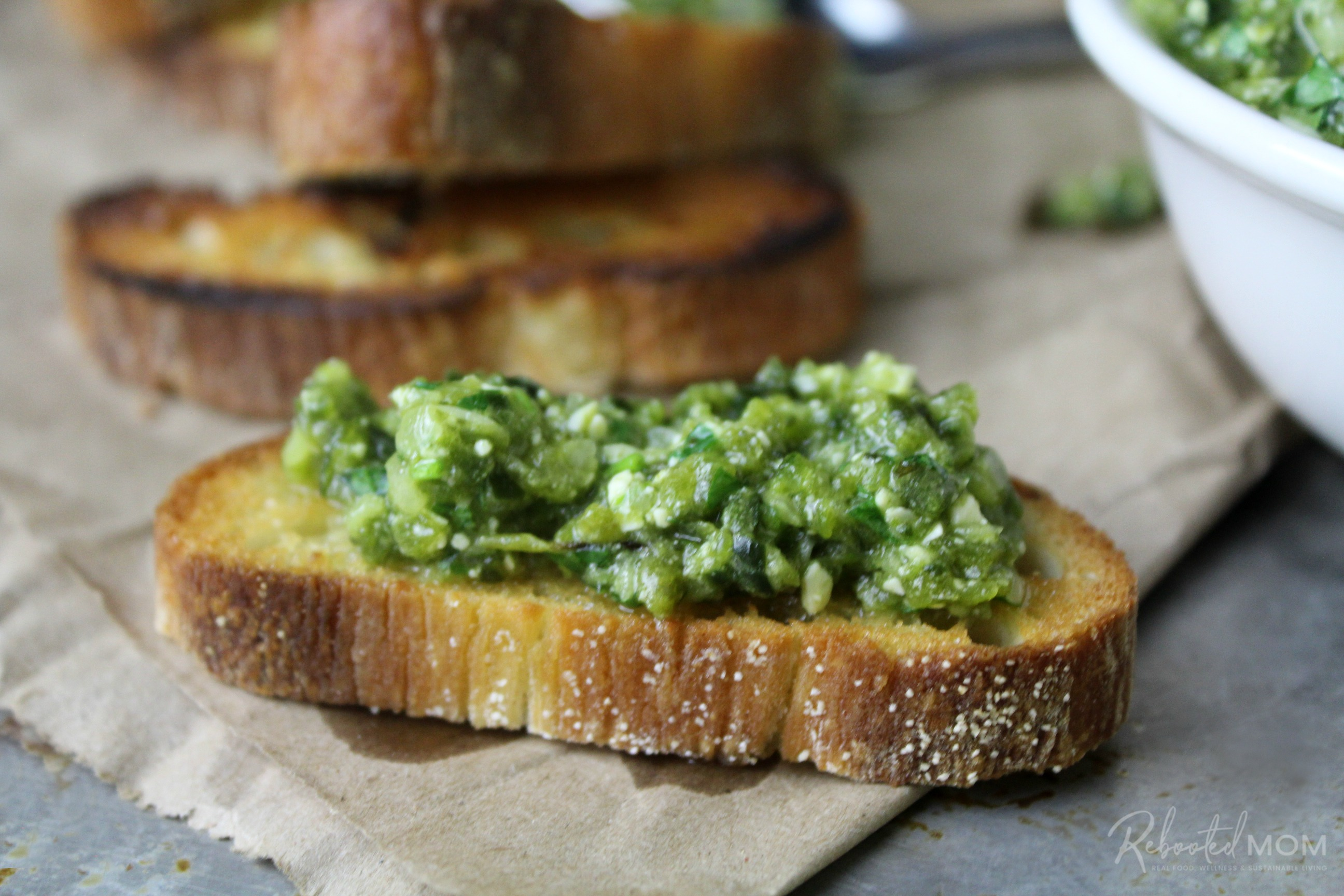 Roasted Poblano and Garlic Pesto on a Toasted Baguette