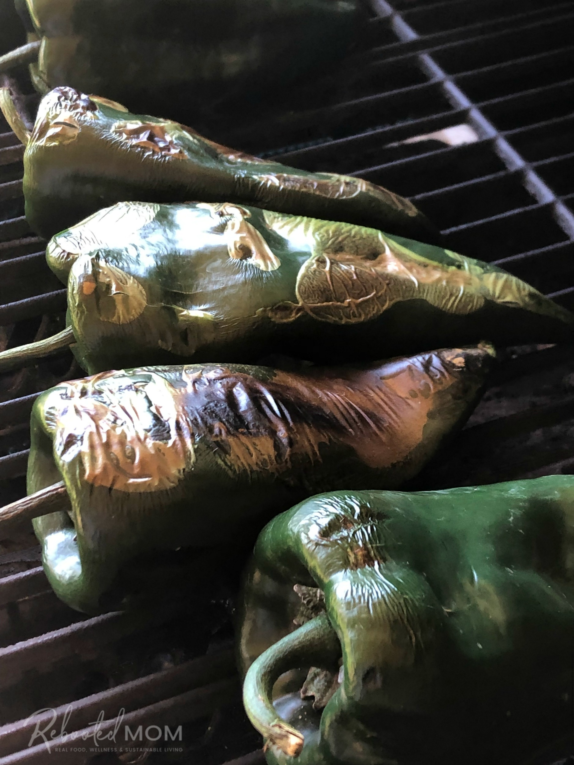 Roasting poblano chiles on the grill
