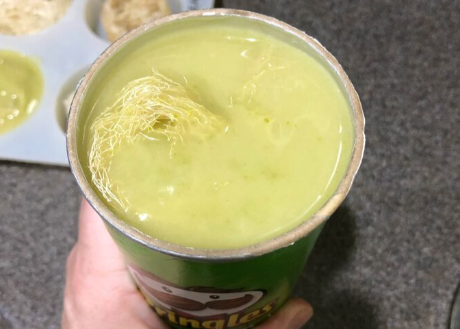 Soap batter in a Pringles can for Loofah Soap