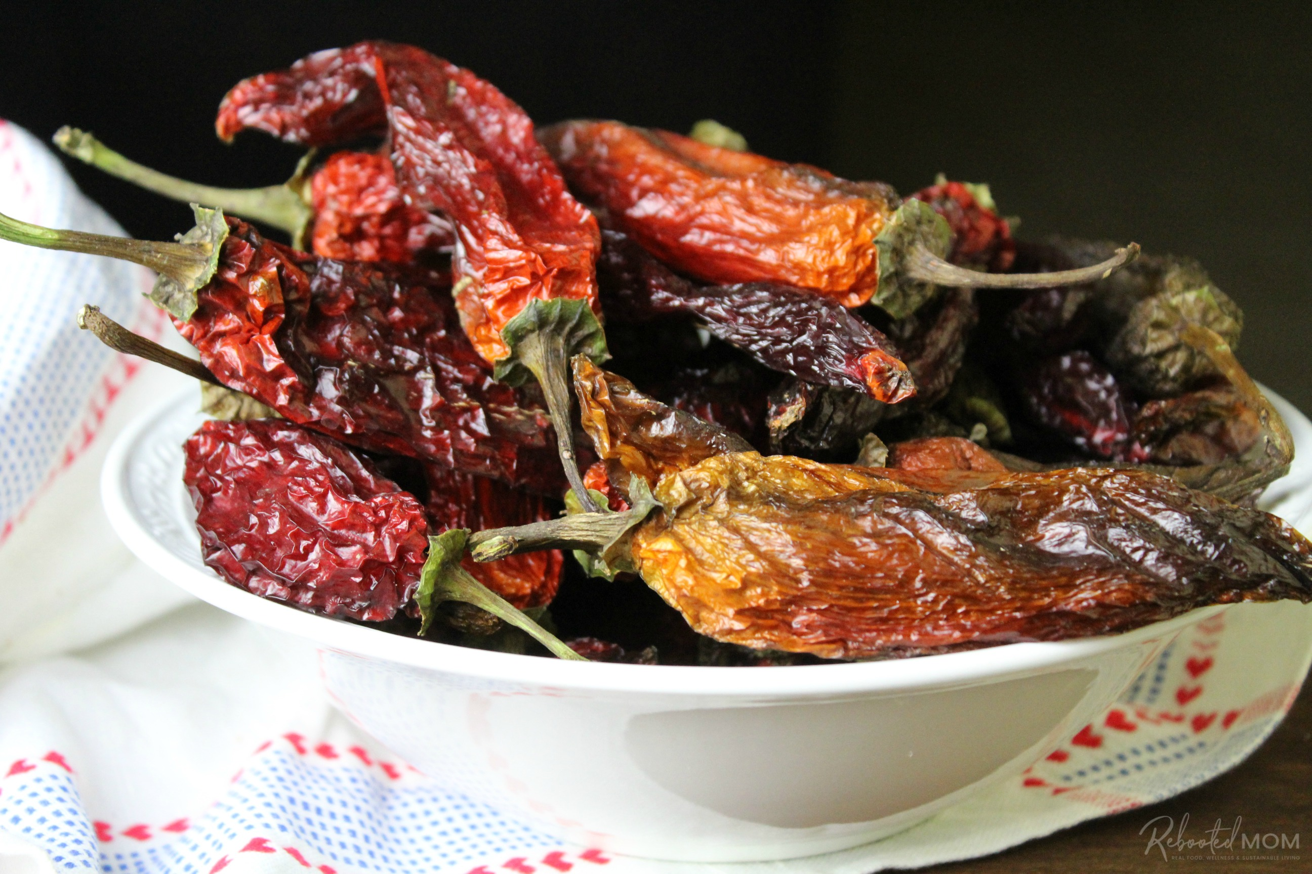 Dried whole hot peppers