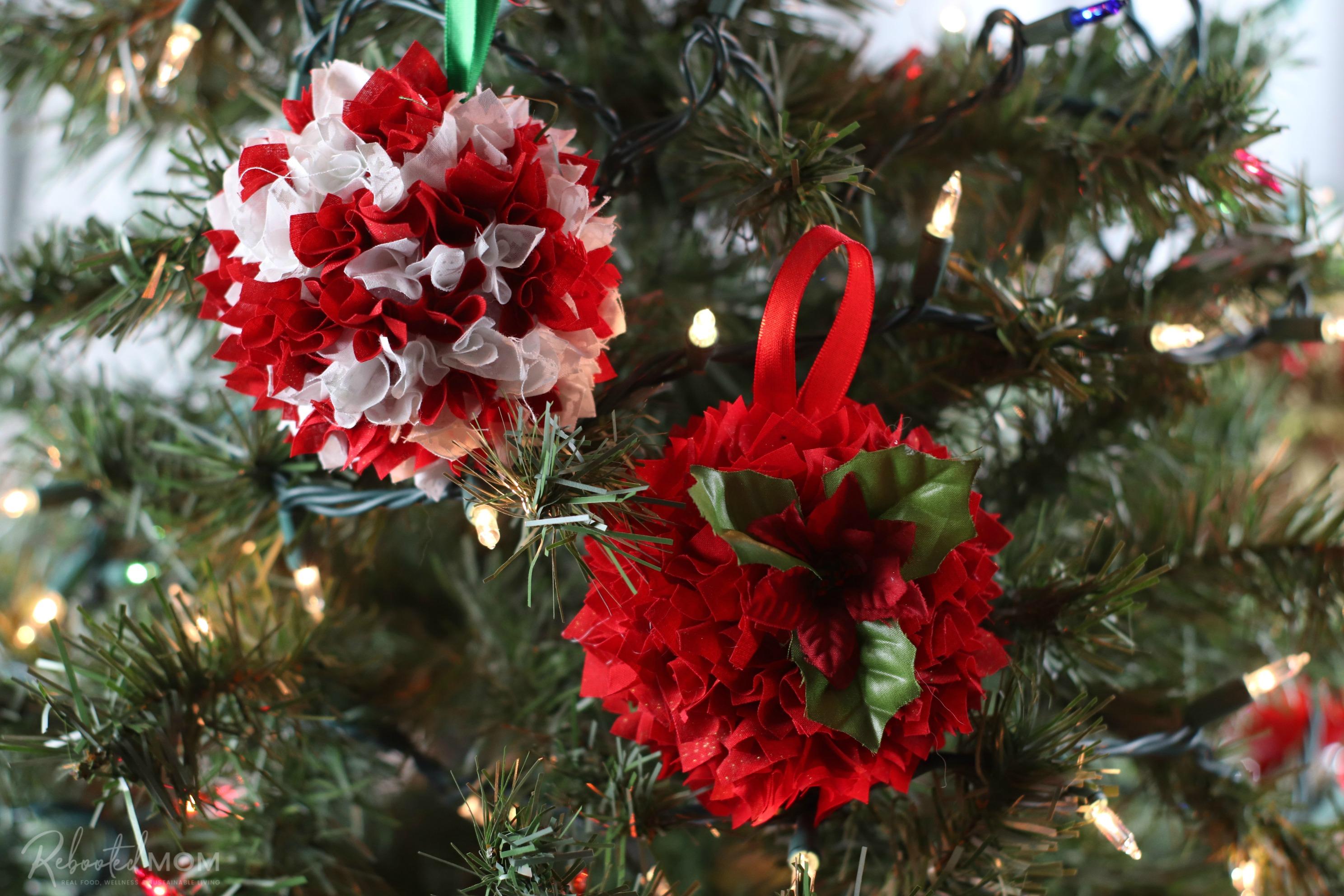 Foam Ball Fabric Scrap Ornaments