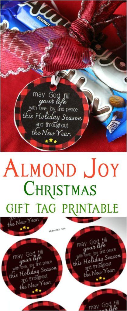 Almond Joy Christmas Gift Tag Printable