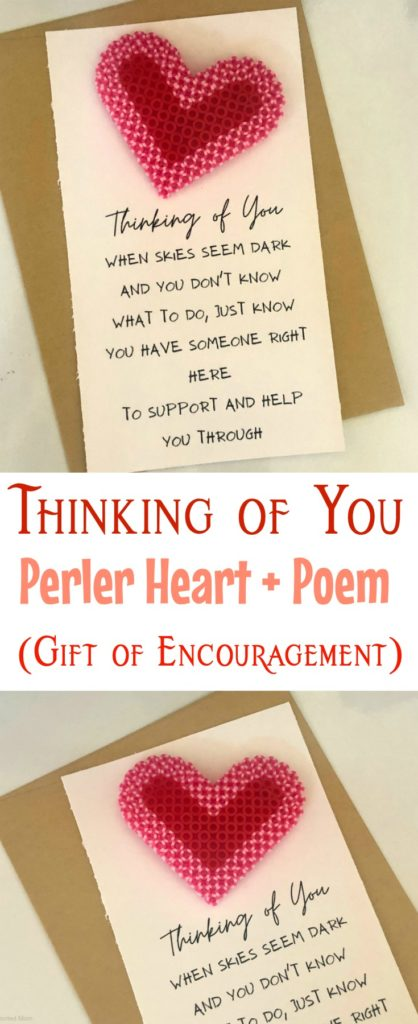 Thinking of You Perler Heart + Poem